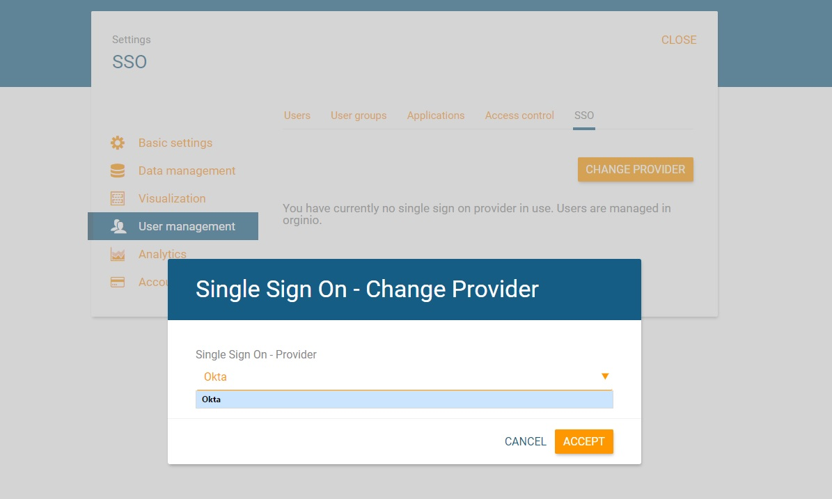Select SSO provider