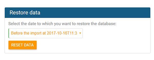 Zeitpunkt für Datenwiederherstellung in orginio auswählen