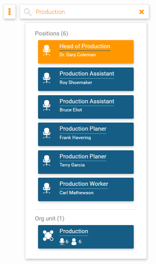 Search for a department within your org chart in orginio
